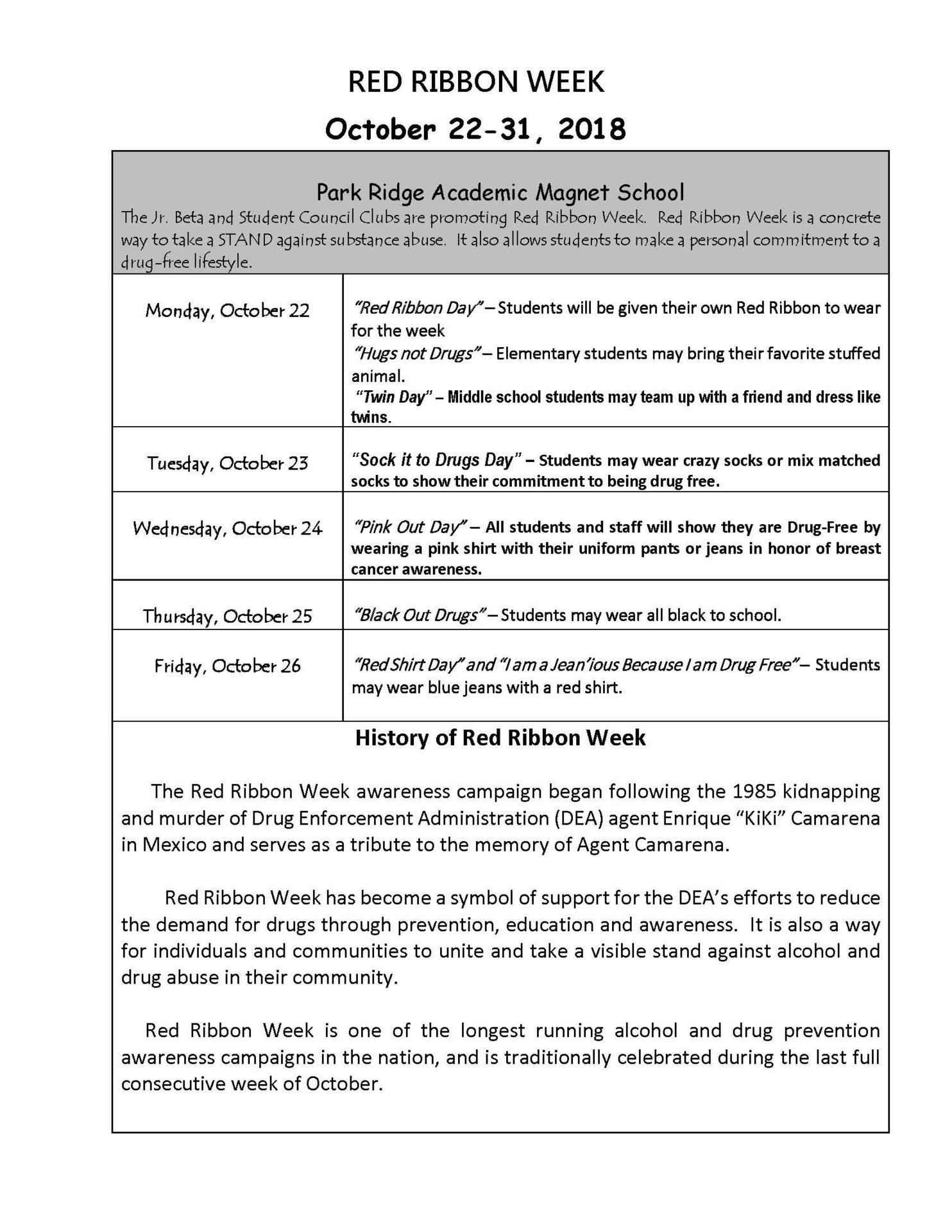 PRAMS Flyer of daily Red Ribbon Activities for 2018