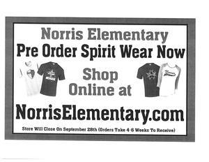 Norris Elementary spirit gear flier