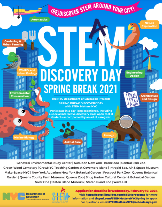 STEM Discovery Spring Break Camp Flyer with Information and Deadline