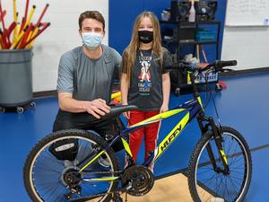 Georgia Mosley earned a new bicycle after being the top fundraiser in the Kids Heart Challenge.