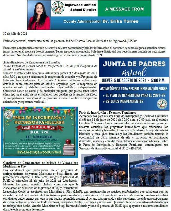Comunicación a Padres, Familias, y Comunidad de IUSD - 7-30-2021 Featured Photo
