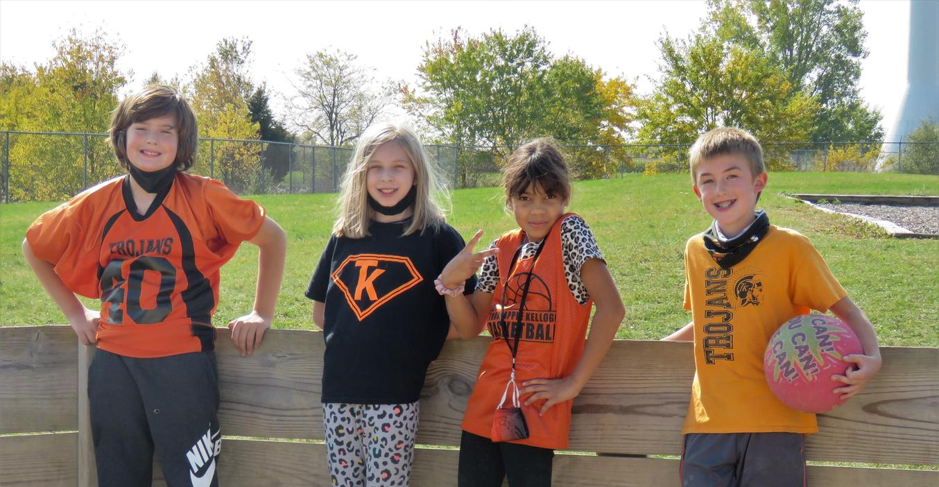 Page students are donned in black and orange for TK Spirit day.