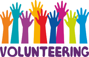 Hands in bright colors with the words Volunteering