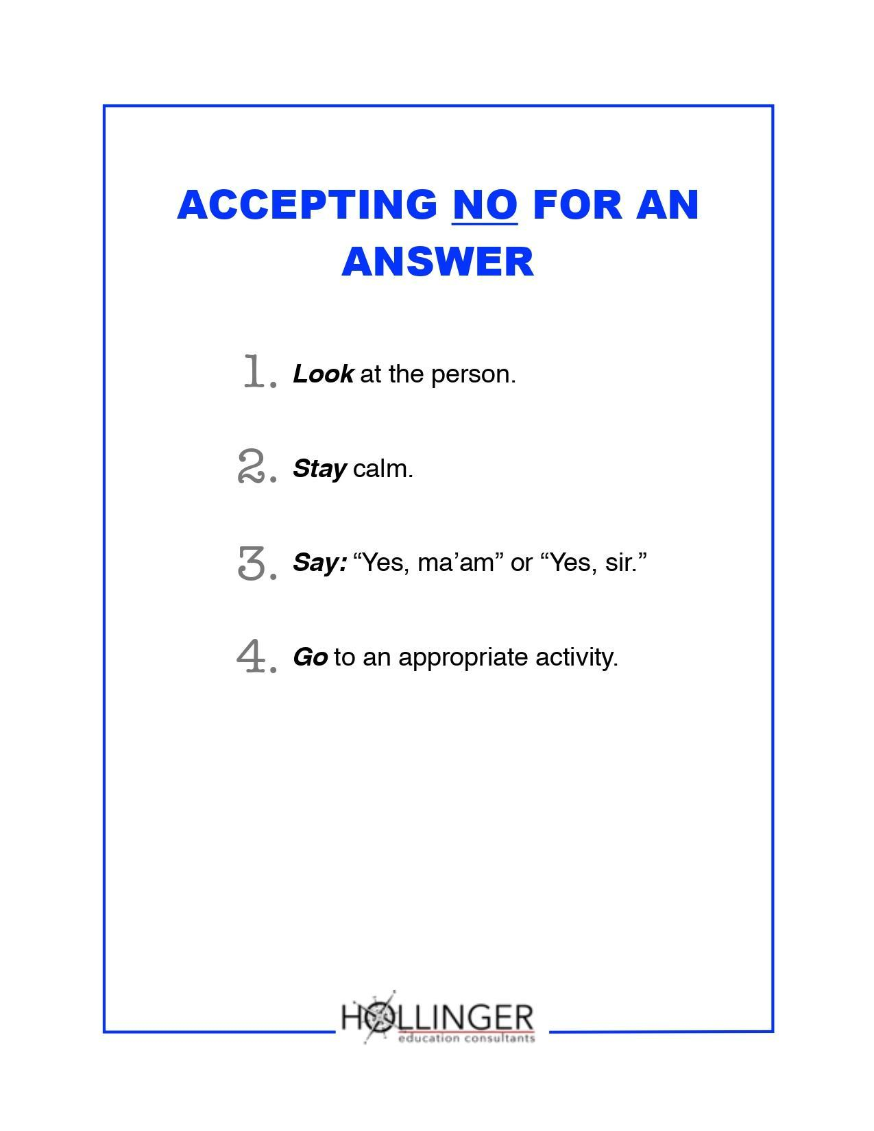 Accepting No for an Answer (English)