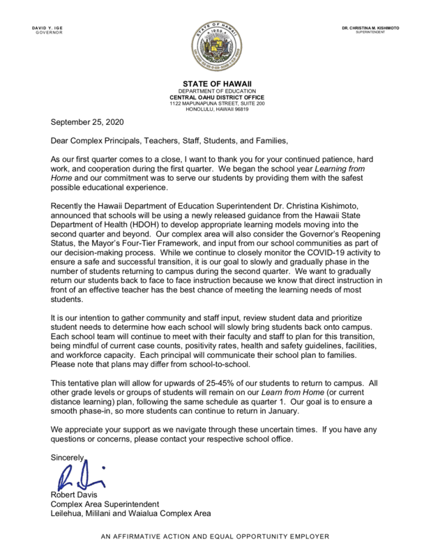 District Letter Return to school Q2