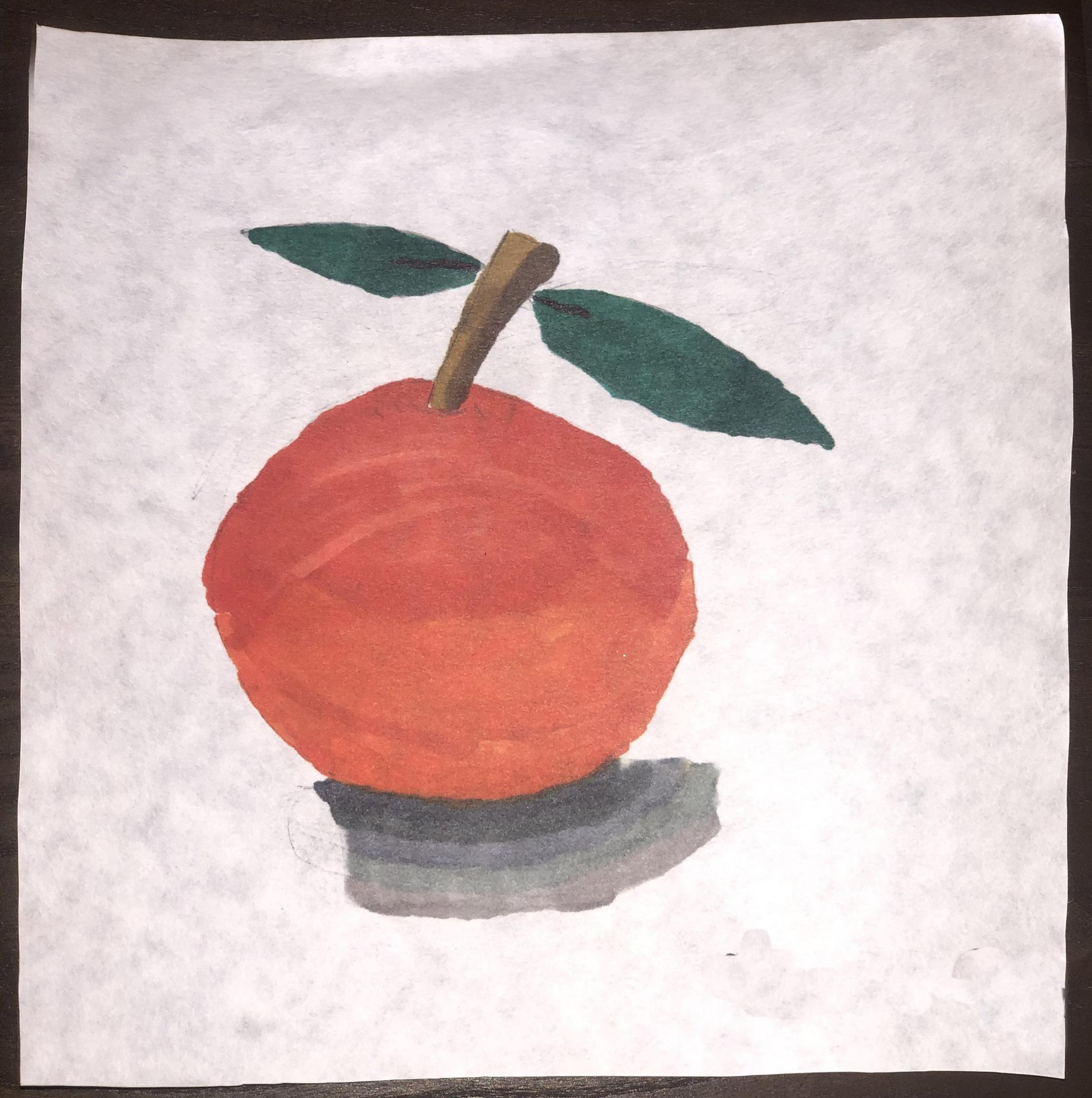A third grader's gorgeous realistic marker drawing of a peach