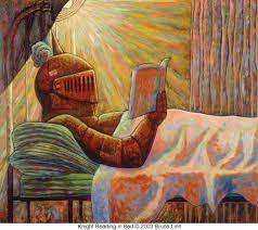 Knight reading a book in bed