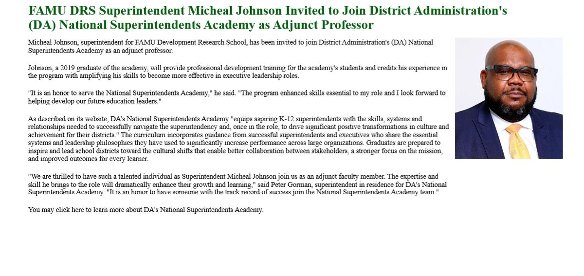 Superintendent Johnson Honored