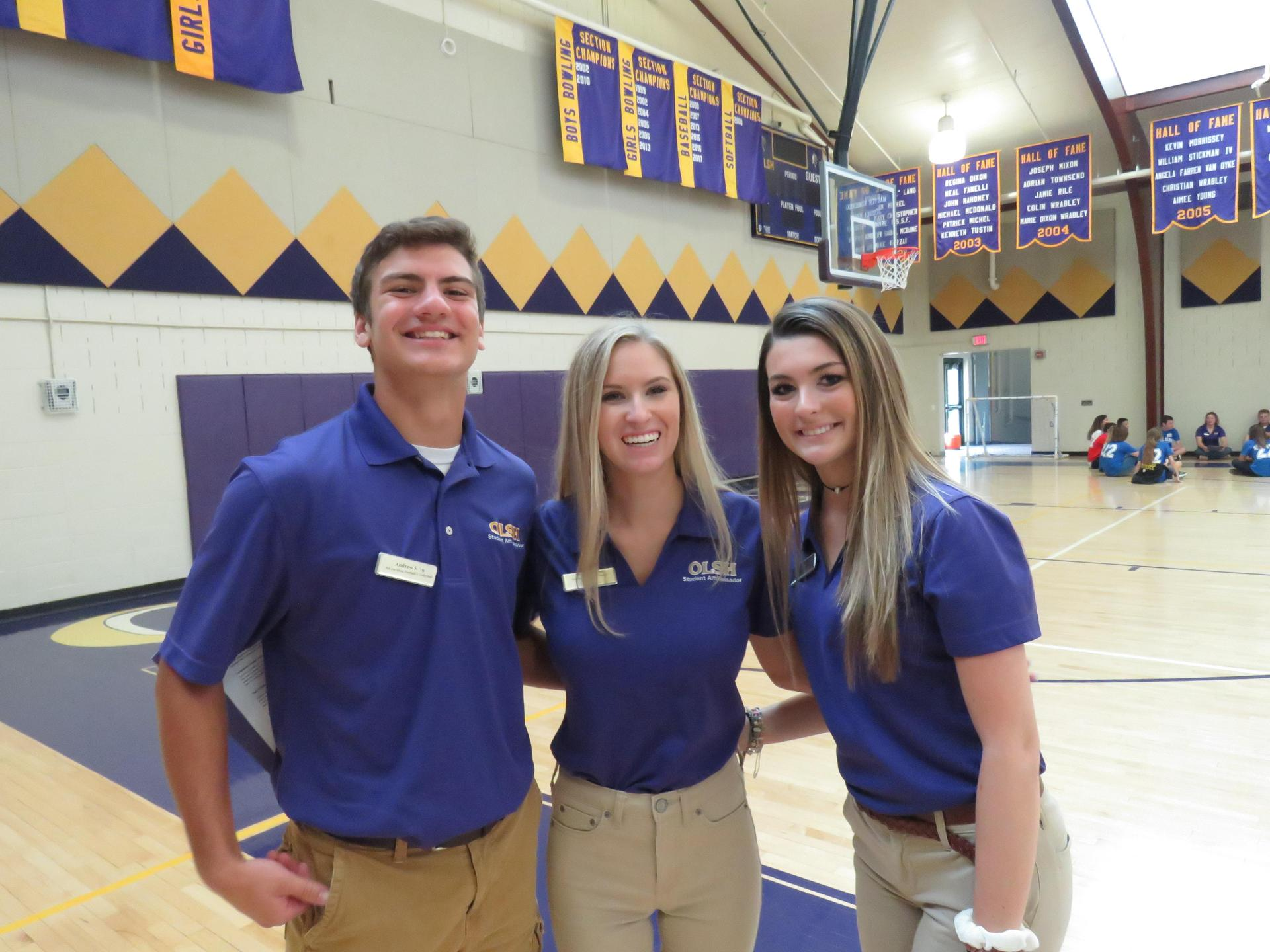 Maggie with Andrew and Mae at this year's Freshman Foundations Day event, helping to run activities for new freshmen.