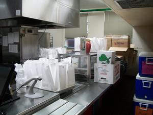 Food being prepared for delivery to students.