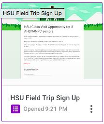 HSU Field Trip Sign Up Form