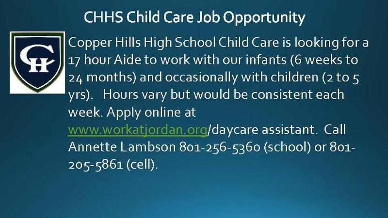 CHHS Child Care Job Opportunity