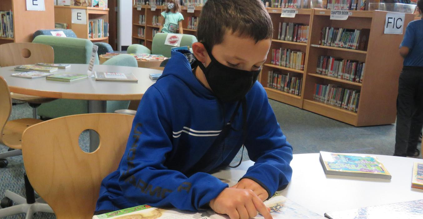 Lee students enjoy reading new books in the library.