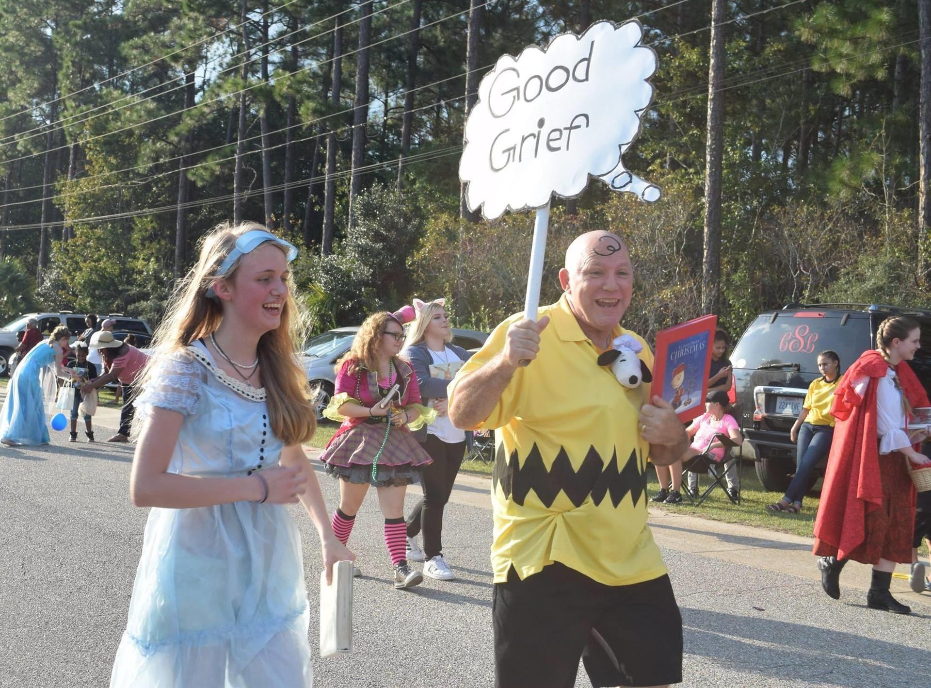 Teacher dressed as Charlie Brown