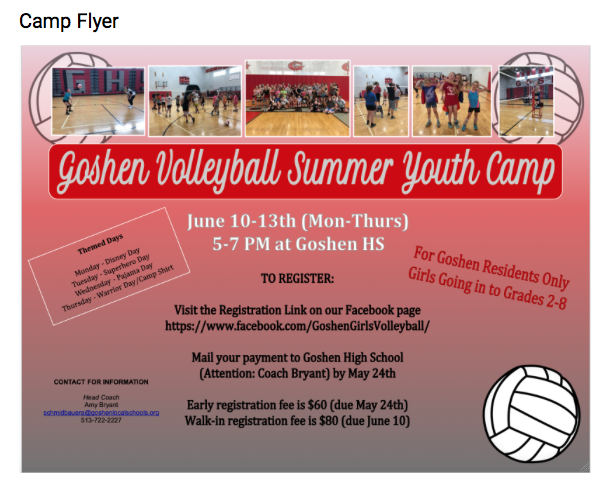 Time to register for Youth Volleyball Camp!