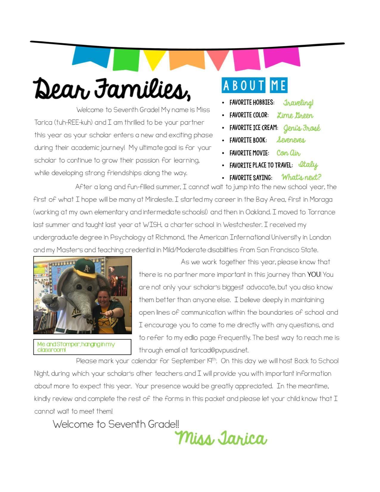 Teacher introduction letter