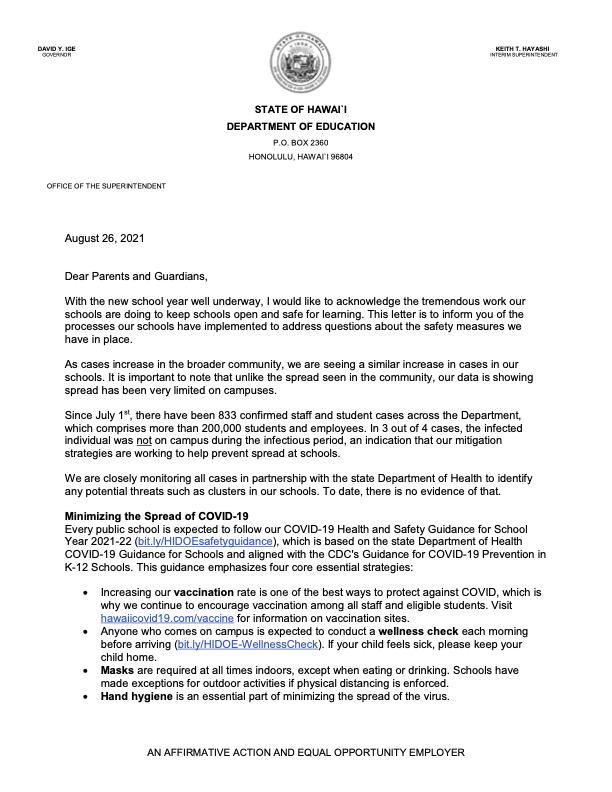 Interim Superintendent Hayashi parent letter addressing safety concerns in schools Thumbnail Image