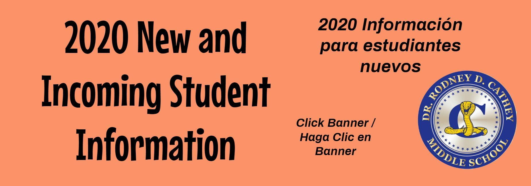 New Student Information Click Banner