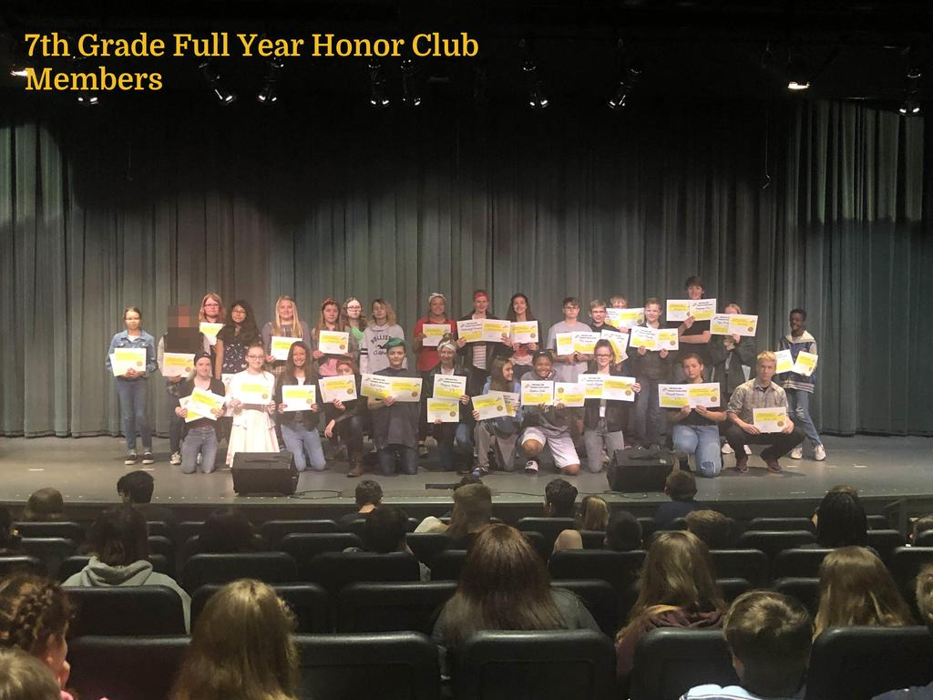 7th Grade Full Year Honor Club