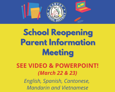 3.22 & 3.23 2021 School Reopening Parent Information Meetings