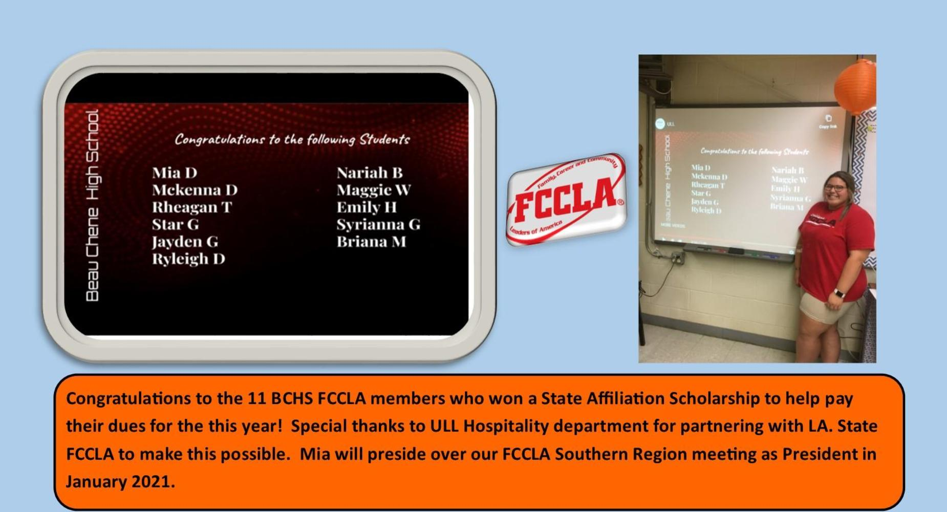 11 BCHS FCCLA members won a State Affiliation Scholarship.