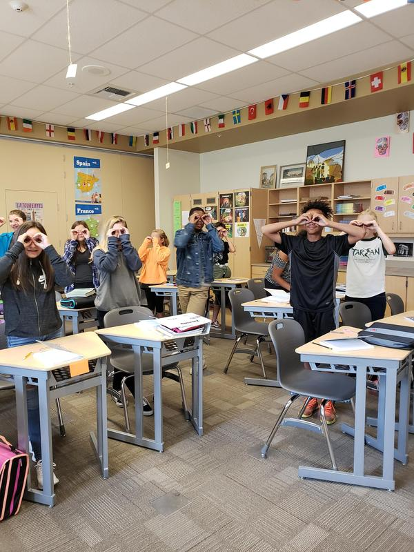 World Language class gestures to learn words