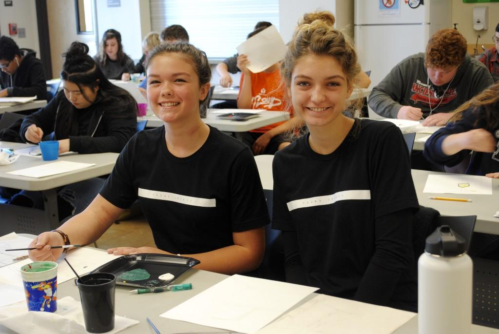 Students dressed as twins for twin day