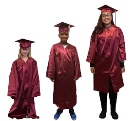 Three students of different ages in graduation gowns