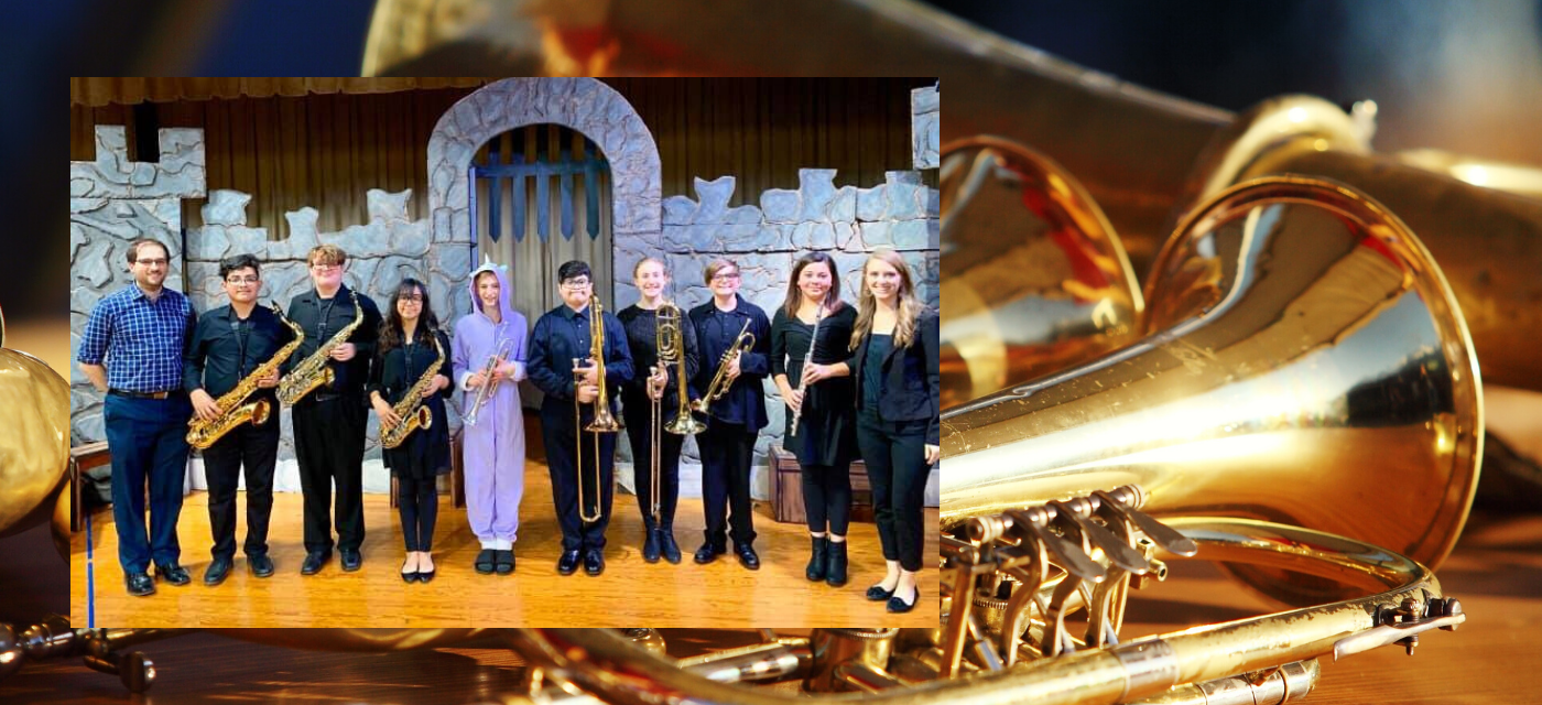band students posing with brass instruments