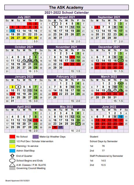 2021-2022 Academic Calendar Featured Photo