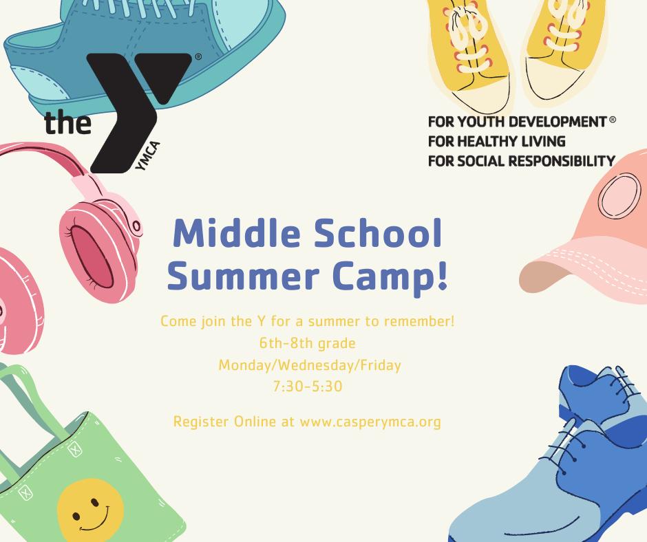YMCA Middle School Summer Camp flyer
