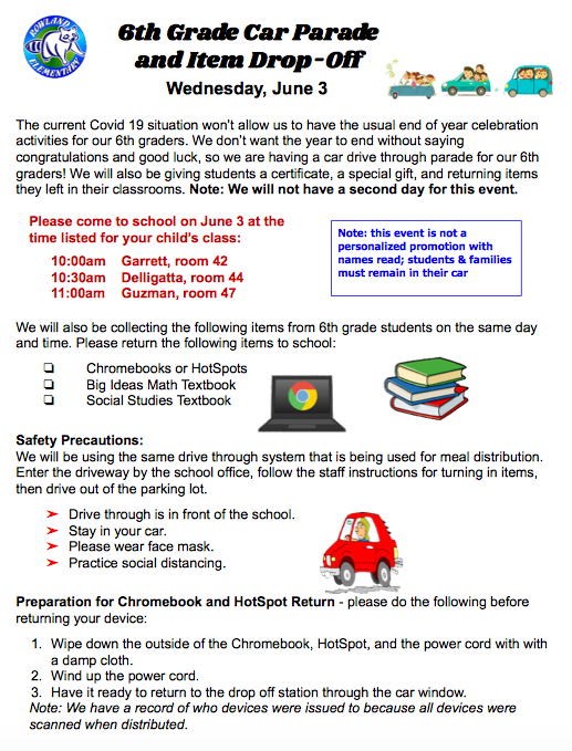 6th Grade Car Parade and Drop Off Schedule Featured Photo