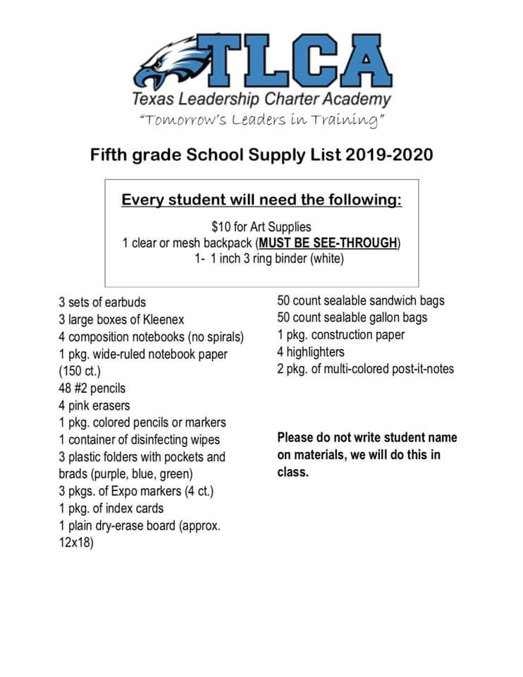 Supply List – Parents Resources – Texas Leadership Abilene History <b>History.</b> Supply List – Parents Resources – Texas Leadership Abilene.</p>