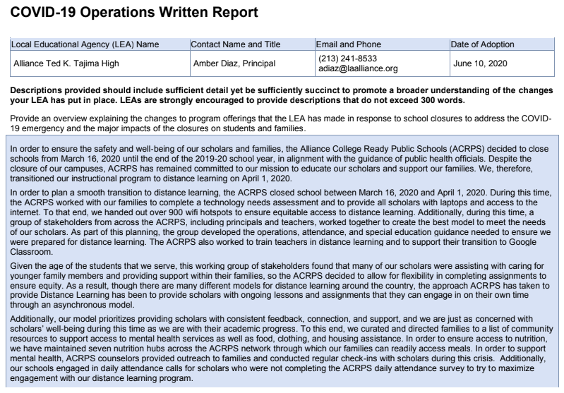 2019-20 COVID-19 Operations Written Report Thumbnail Image