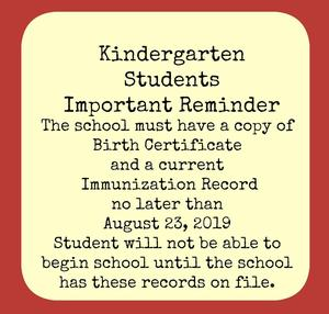 Birth Certificate and current Immunization record copies must be at school before August 23.