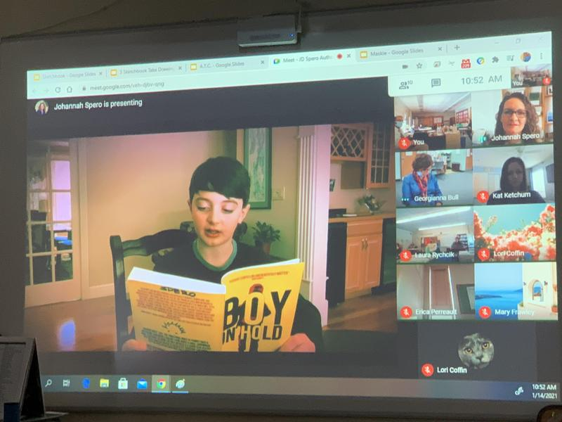 photos of students on a Google Meet with Author JD Spero