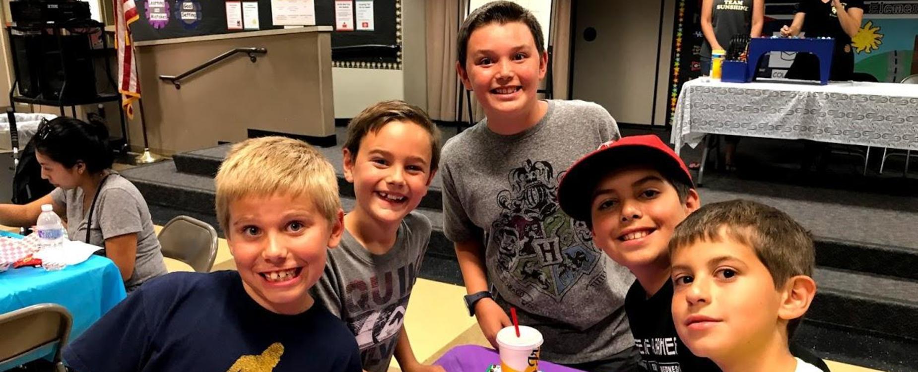 Boys enjoying bingo night