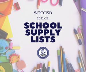 WOCCISD School Supply List 2021-22
