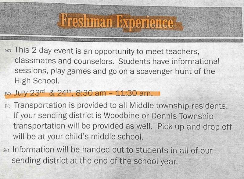 Middle Township's Freshman Experience Thumbnail Image