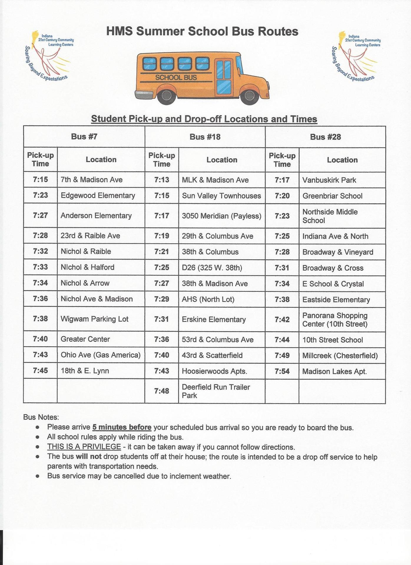 Highland summer school bus schedule