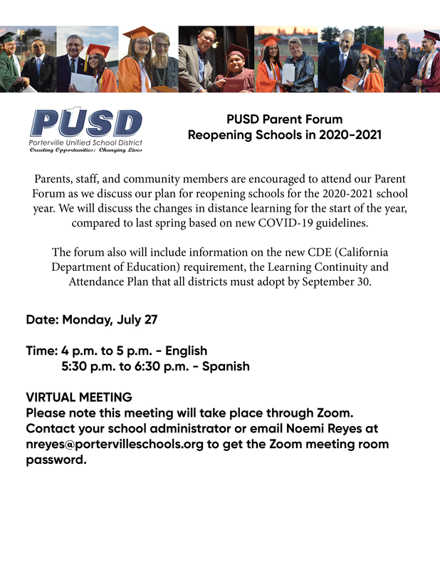 Reopening Parent Forum - English
