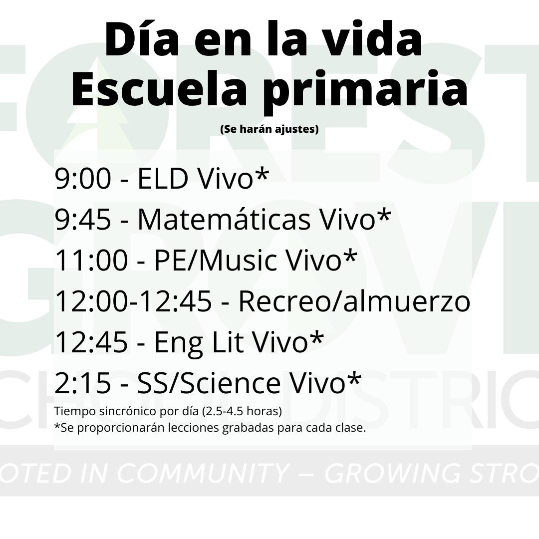 Elementary Schedule Spanish