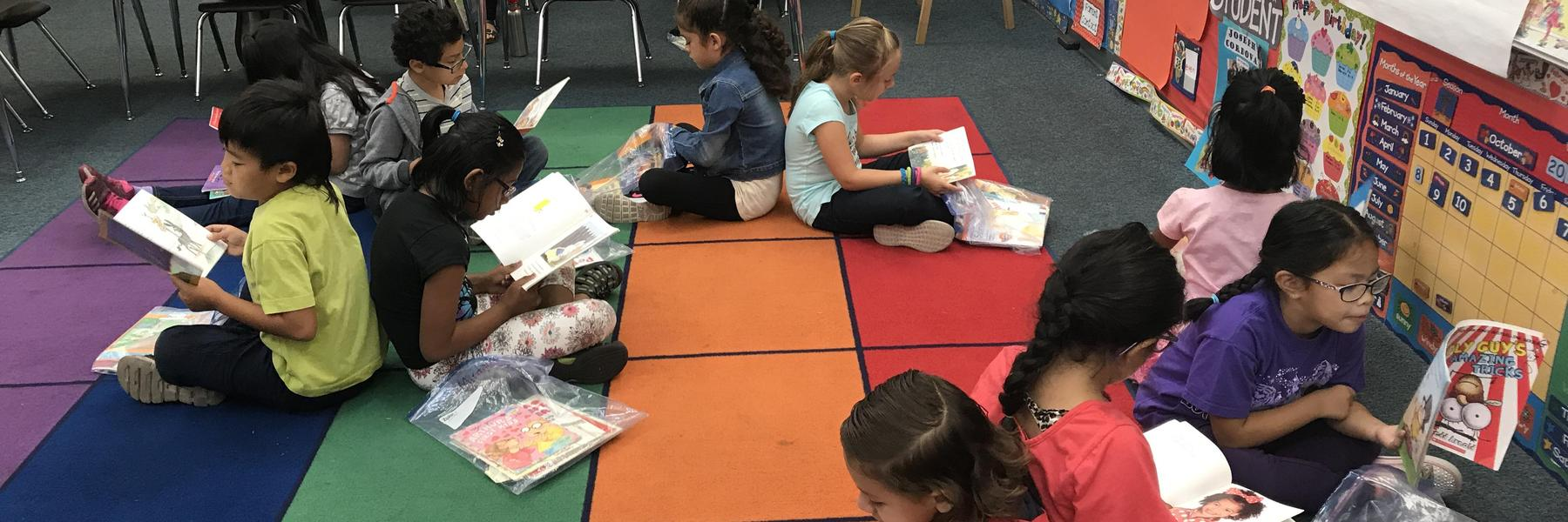 First Graders reading books during Reader's Workshop