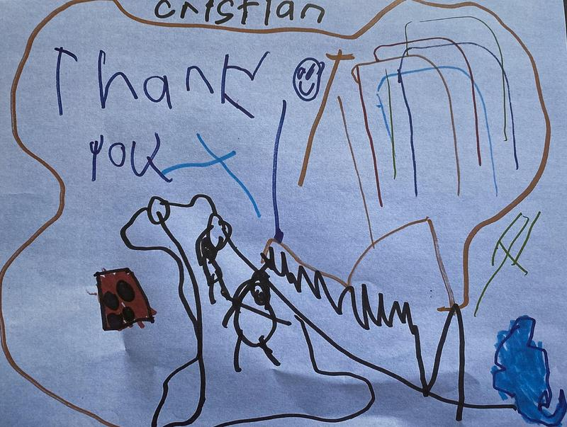 Thank you drawing from a kindergartener scholarship recipient