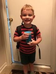 Ian on first day of preschool 2018