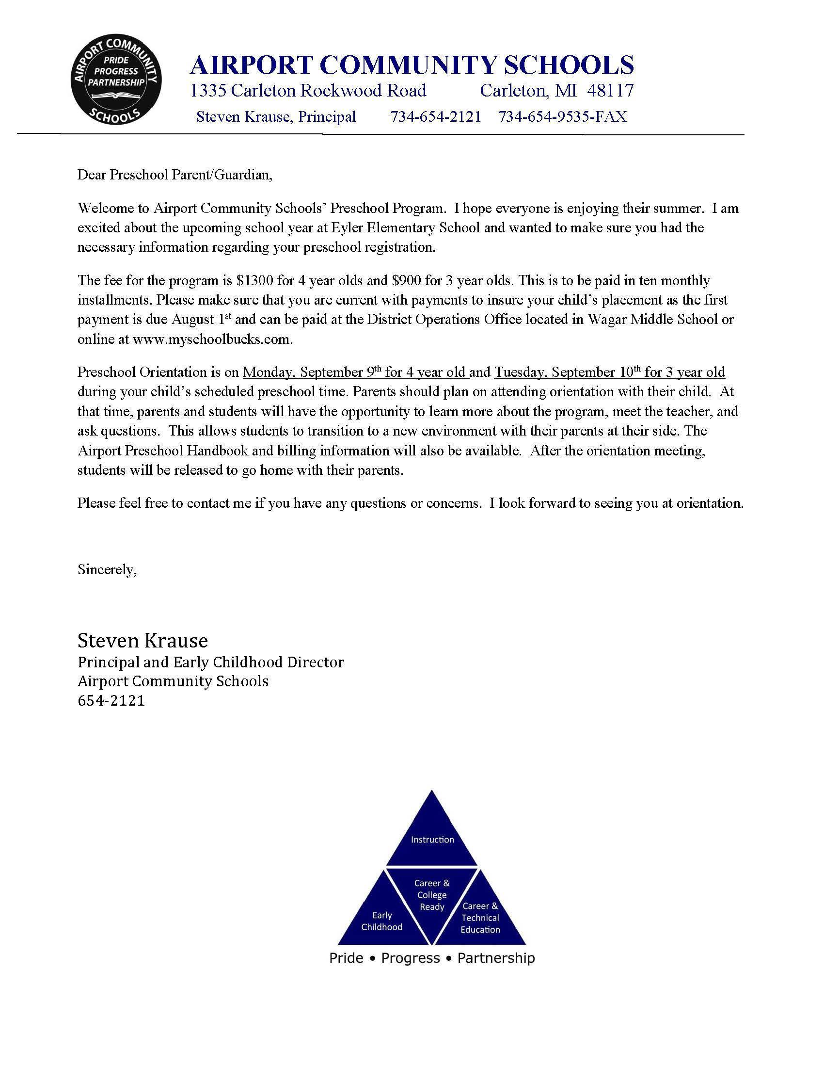 Preschool Letter
