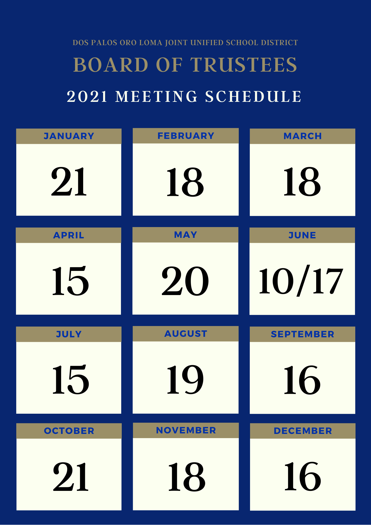 Blue and gold, 2021 meeting schedule calendar of dates