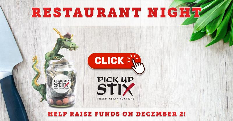Restaurant Night on December 2 at Pick Up Stix in Placentia!