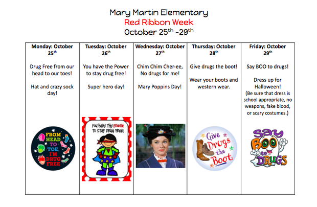 Red Ribbon Week October 25th-29th Featured Photo