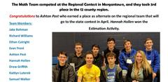 BUHS Math Team placed 3rd in the 12 county regional Contest.